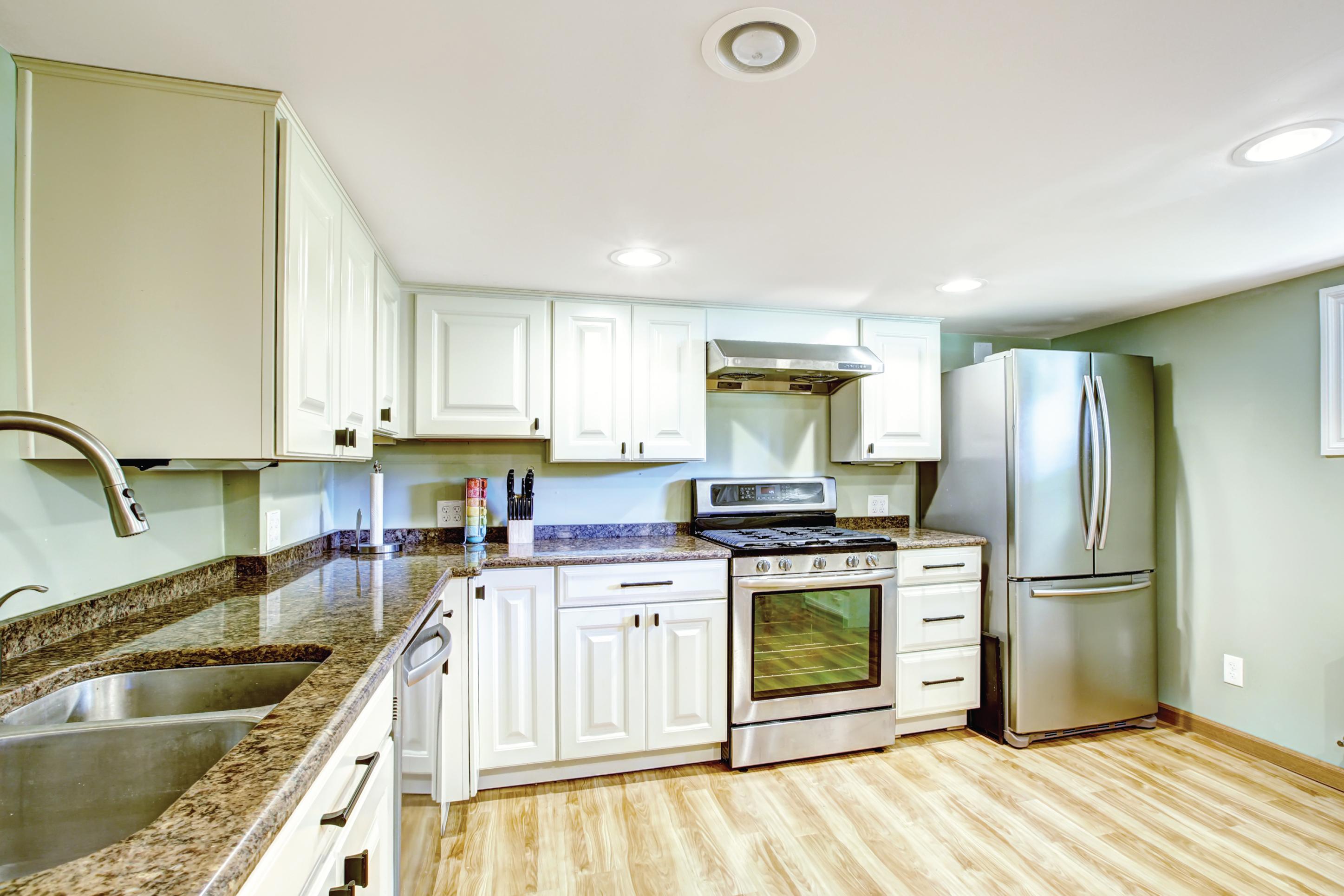 a kitchen inside an ADU