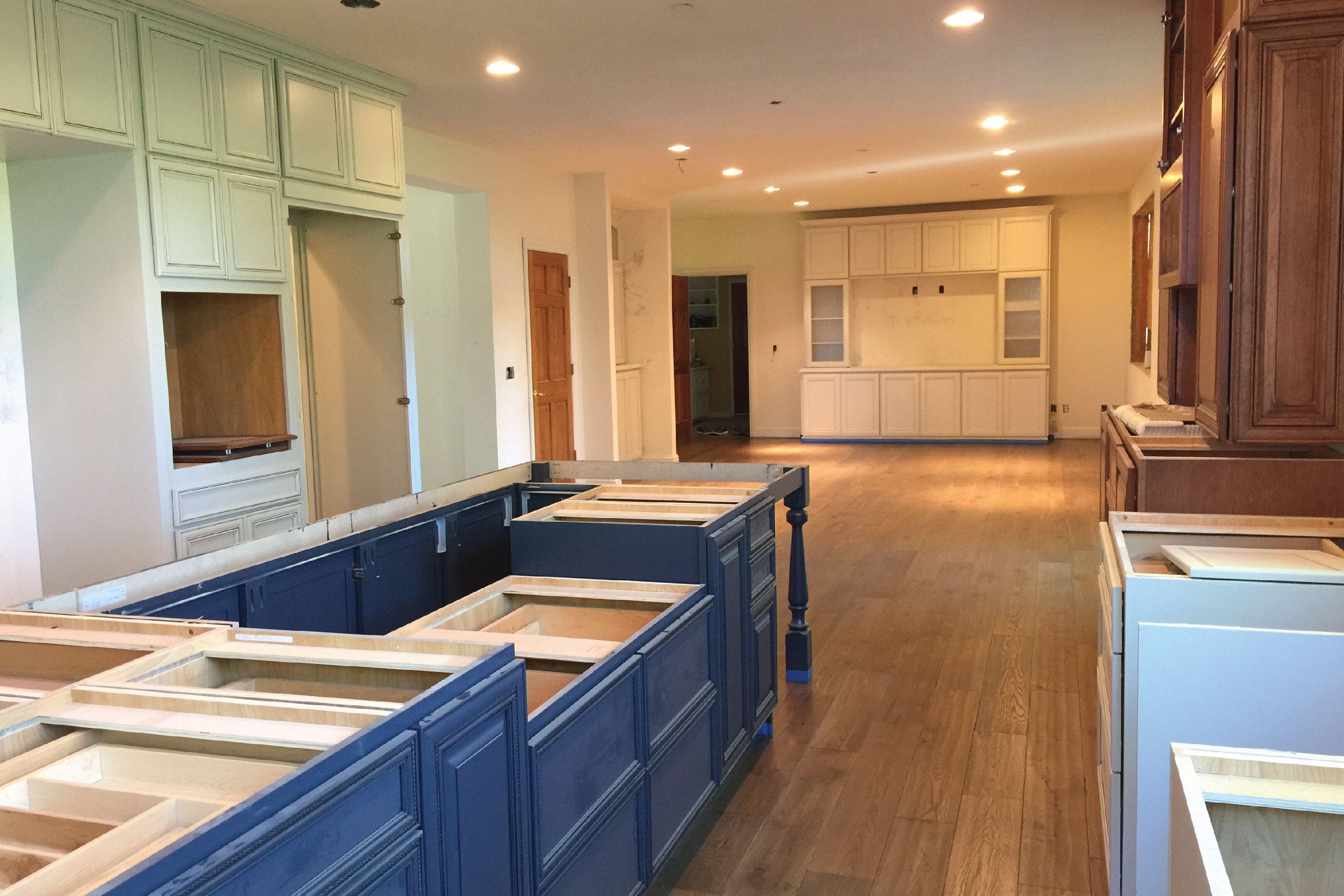 a kitchen in the middle of a remodel